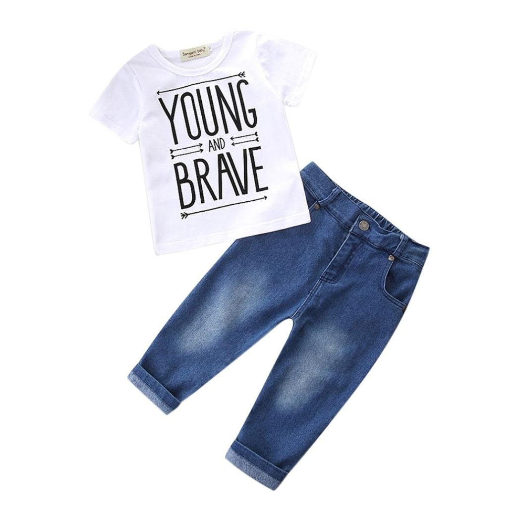 Webla Toddler Baby Boys Kids Clothes Set Letter Yong and Brave T-Shirts Tops +Denim Pants Set Ages 1-6 Years