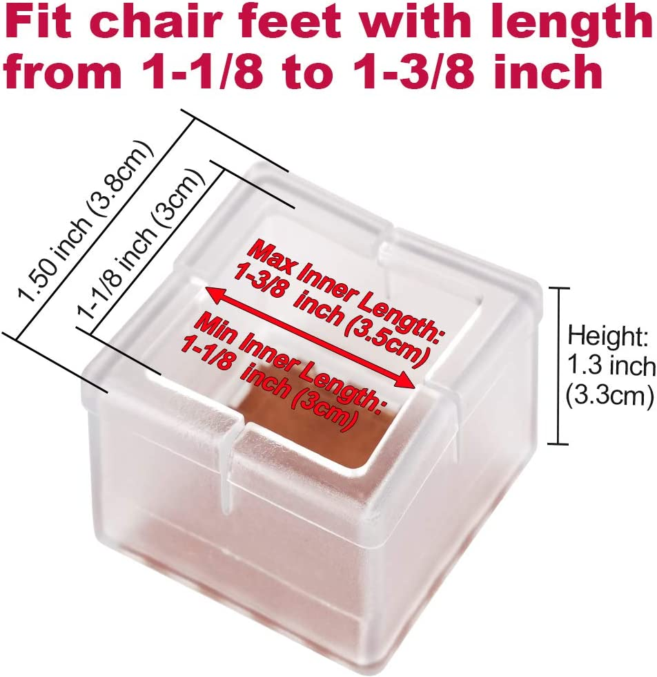 16Pack Chair Leg Floor Protectors Rectangular Fit Length 1-15//16 to 2-1//16 /& Width 15//16 to 1-3//16 Large Chair Leg Caps Silicone Table Chair Feet Protectors with Felt Pads