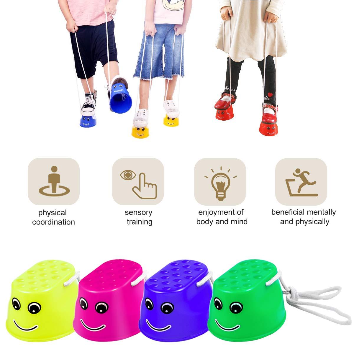 Toyvian Plataforma para Caminar Zancos para ni/ños Bucket Stilts Antideslizante sin Marcas Easy Stepper 4pcs