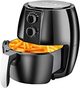 4.5L Air Fryer + Oven Cooker with Temperature Control, Non-stick Fry Basket, Recipe Guide + Auto Shut Off Feature, 1300-Watt