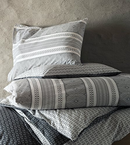 Native American Puebloan Southwest Print Duvet Quilt Cover 3pc set King 100% Cotton Black and White Boho Chic Striped Aztec Chevron Diamond