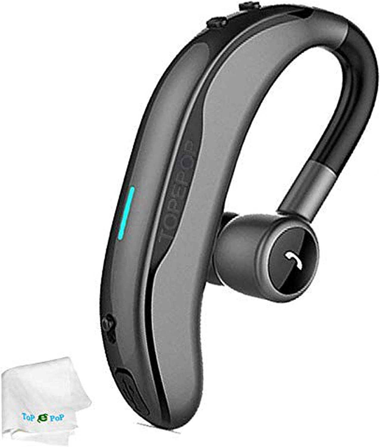 Bluetooth Headset Wireless Headphone Handsfree Call Earpiece Noise Cancelling Earbud Long Standby Time Earphone Compatible with Smart Cell Phones Car Driver Trucker Business Office Men Women (Grey)