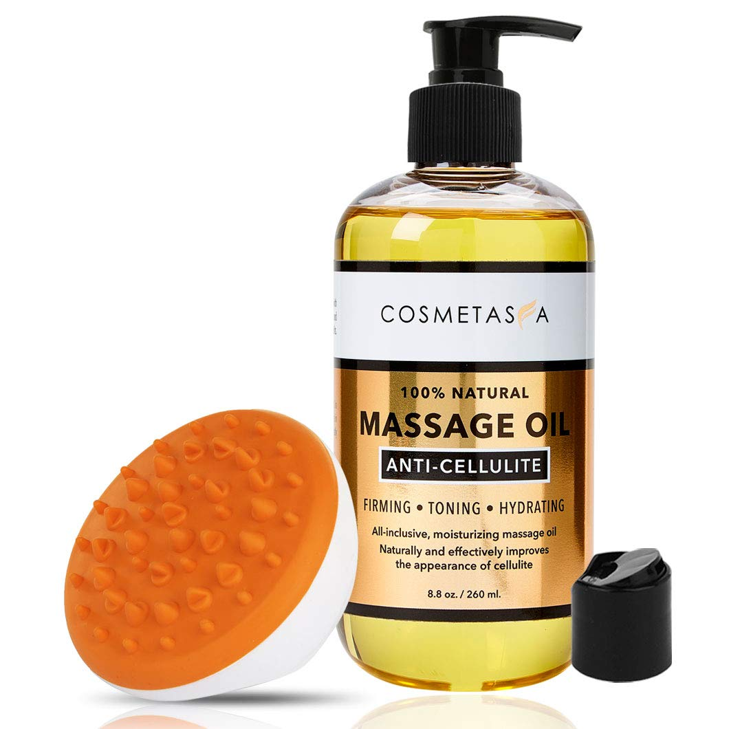Anti Cellulite Massage Oil with Cellulite Massager- 100% Natural Cellulite Treatment, Deeply Penetrates Skin to Break Down Fat Tissue- Firms, Tones, Tightens & Moisturizes Skin…