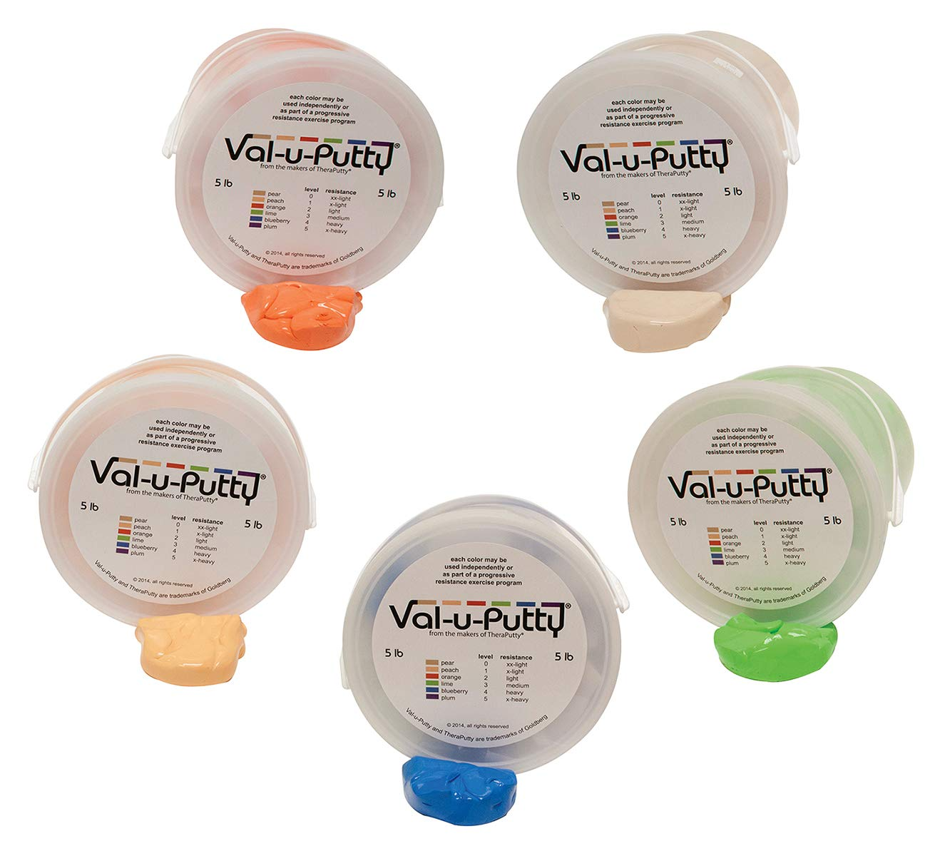 Val-u-Putty Exercise Putty - Pear, Peach, Orange, Lime, Blueberry - 5 LB Each - Bundle