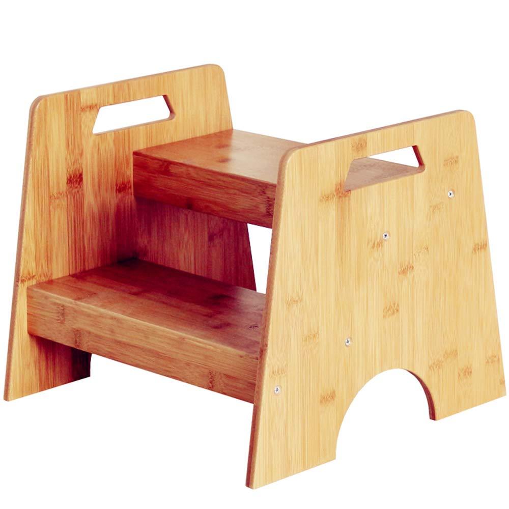 ladder stool Leiter Hocker, Haushalt, Kindertritthocker, Massivholzhocker, Regal, 2 Stufen QIUXIAUK