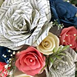 Wedding-Bouquet-in-Coral-Navy-blue-Ivory-Paper-Flowers-and-Book-Page-Roses