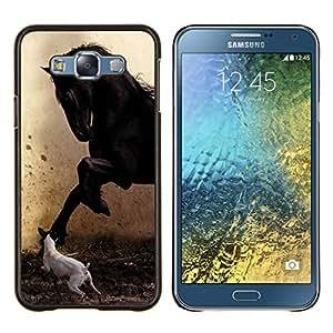 EJOOY---Cubierta de la caja de protección para la piel dura ** Samsung Galaxy E7 E700 ** --Pegasus Jack Russell Pintura Caballo Mustang