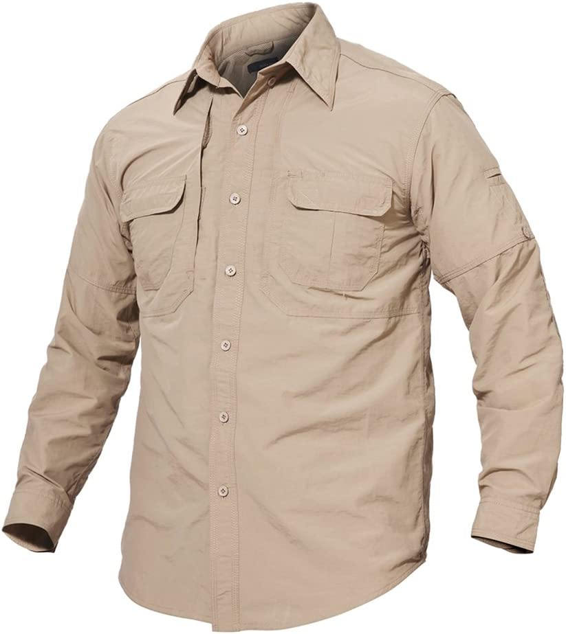TACVASEN Mens Quick Dry UV Protection Long Sleeve Button Down Shirt for Casual /& Outdoor