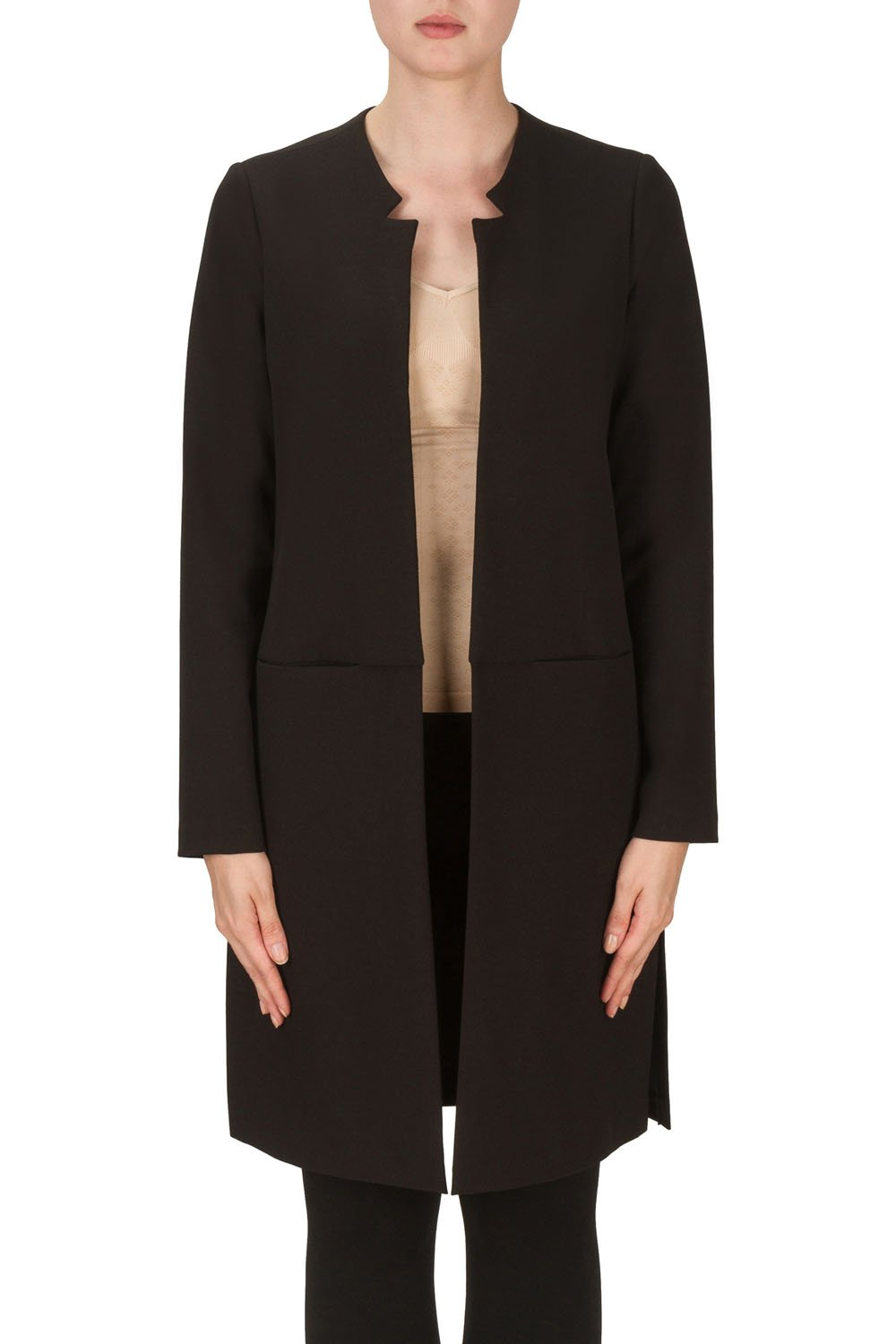 Joseph Ribkoff Black Knee Length Open Coverup Jacket Style 171411 (8)