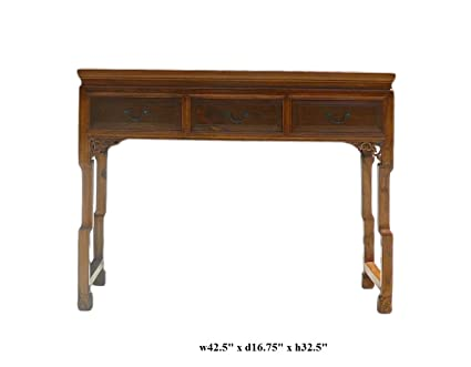 Chinese Light Brown Three Drawers Altar Table Desk Acs360
