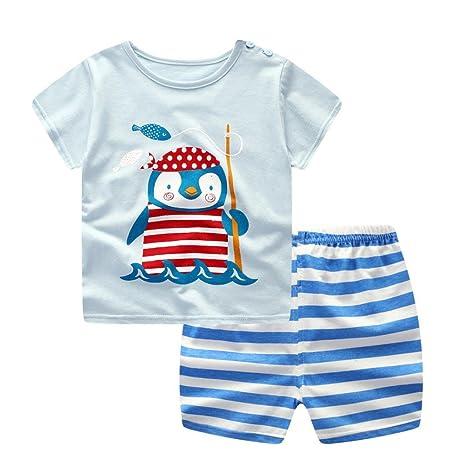 Conjuntos de bebé, ❤️ Amlaiworld Recién nacido bebés niños niñas dibujos animados Penguin Tops camisas + pantalones conjuntos conjuntos (Azul, ...
