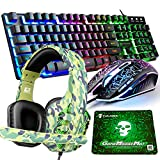 Gaming Keyboard and Mouse,4 in 1 Gaming Combo,Rainbow LED Backlit Wired Keyboard,2400DPI 6 Button Optical Gaming Mouse,Gaming Headset,Gaming Mouse Pad for PC Gaming
