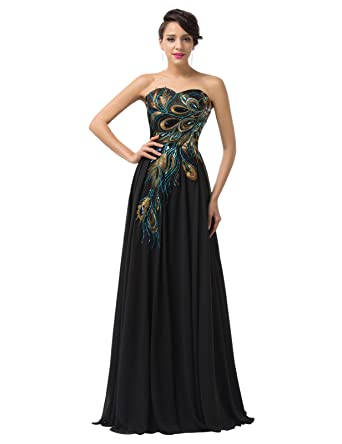 Amazon.com: GRACE KARIN Long Strapless Embroidery Prom Dress A-line ...