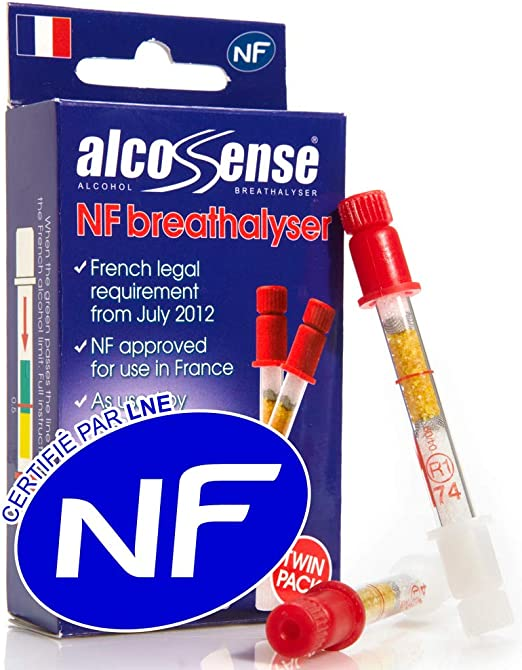Alcosense French Breathalyser NF Approve Alcohol Tester Twin Pack France Legal