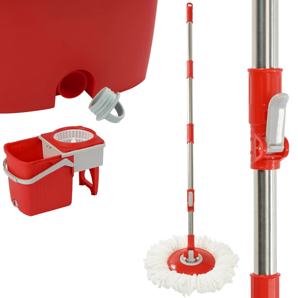 Spinning 360° Foldable Mop and Twin Bucket Set 9.2 Litre Includes 2 or 5 Microfibre Mop Heads (Mop with 2 Heads, Red) Clifford James
