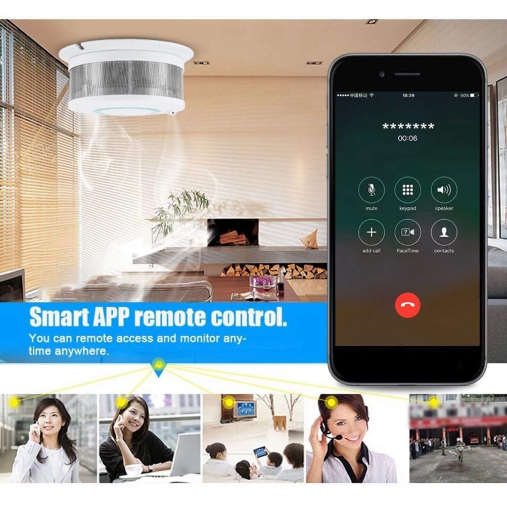 und Feuertemperatursensor Drahtloser Rauchtemperaturmelder Haussicherheits-Alarmsystem 2 in 1 intelligente drahtlose WIFI-Anwendung Rauch