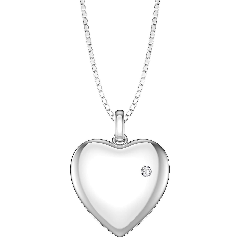 Charmisma Moissanite Platinum plated Silver Heart Locket