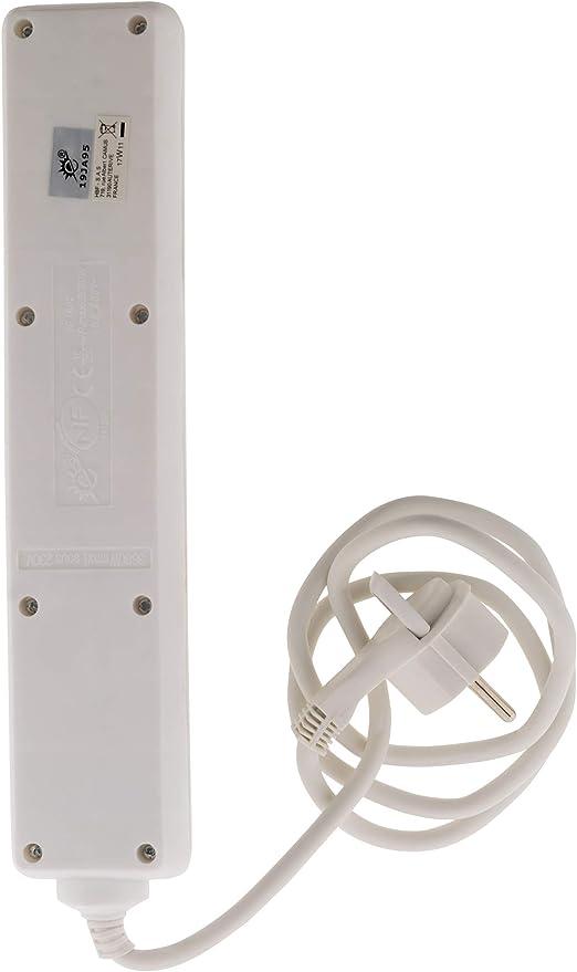 Bloc 5 prises avec interrupteur et fiche extraplate Blanc 1m Zenitech NF
