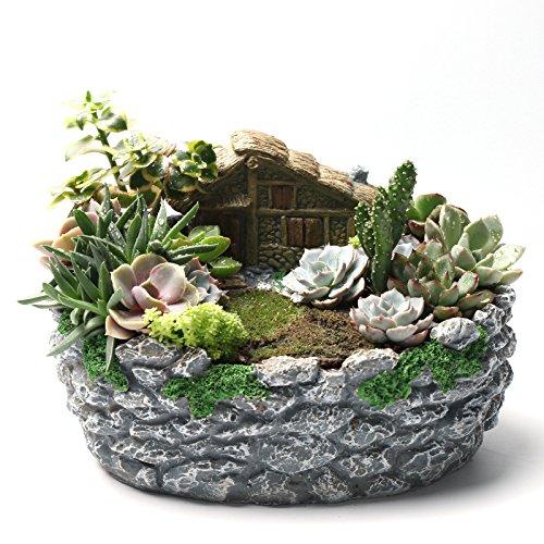 ncyp-fairy-garden-miniature-log-cottage-in-rock-fence-flower-pot-cottage-sculpture-planter-grey