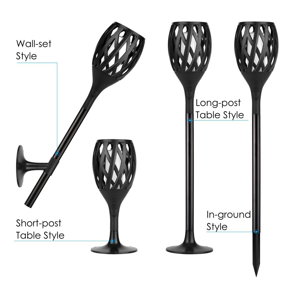 2 Solar Torch Light 3rd Generation Table and In-ground for House 3 Application Sets of Wall Garden Outdoor //Indoor Tiki Style Fire Dancing Flickering Flames Lamp with USB Charging Auxiliary