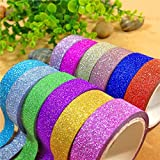 JEF colourful Decorative Adhesive Glitter Tape Rolls, Length 3m Each, Set of 10 (Colors As Per Availability)