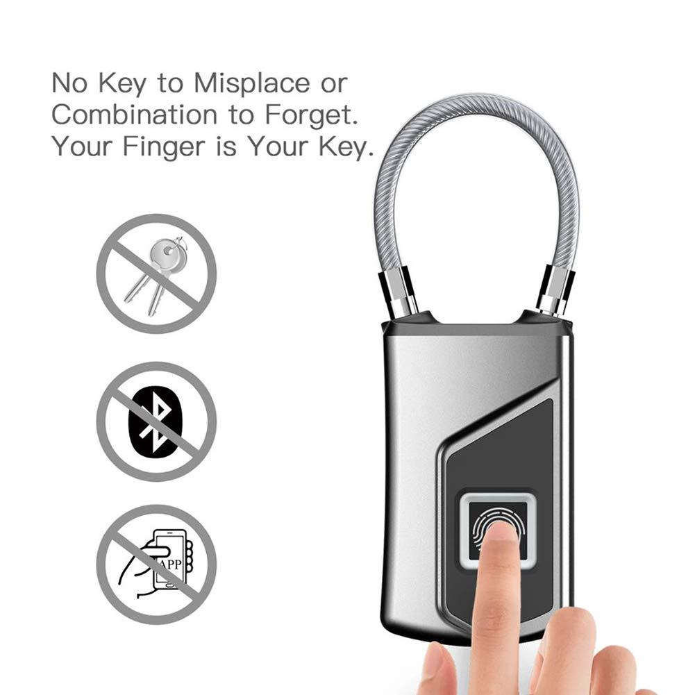 YMXLJJ Mini Smart Padlock for Fingerprint IP65 Waterproof Anti-Theft Keyless Fingerprint Lock USB Charging Long Standby Fashion Portable Small Backpack with Padlock