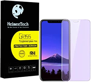 HeimeeTech Anti Blue Light Full Coverage Screen Protector for iPhone XR and iPhone 11, Anti Blue Light, Anti Scratch, Tempered Glass Bubble Free Case Friendly Film [2 Pack][6.1 Inch]