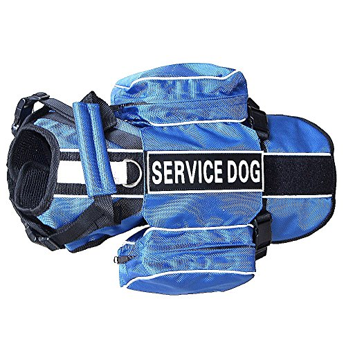 haoyueer Service Dog Backpack Harness Vest Removable Saddle Bags with Label Patches(Blue,L)