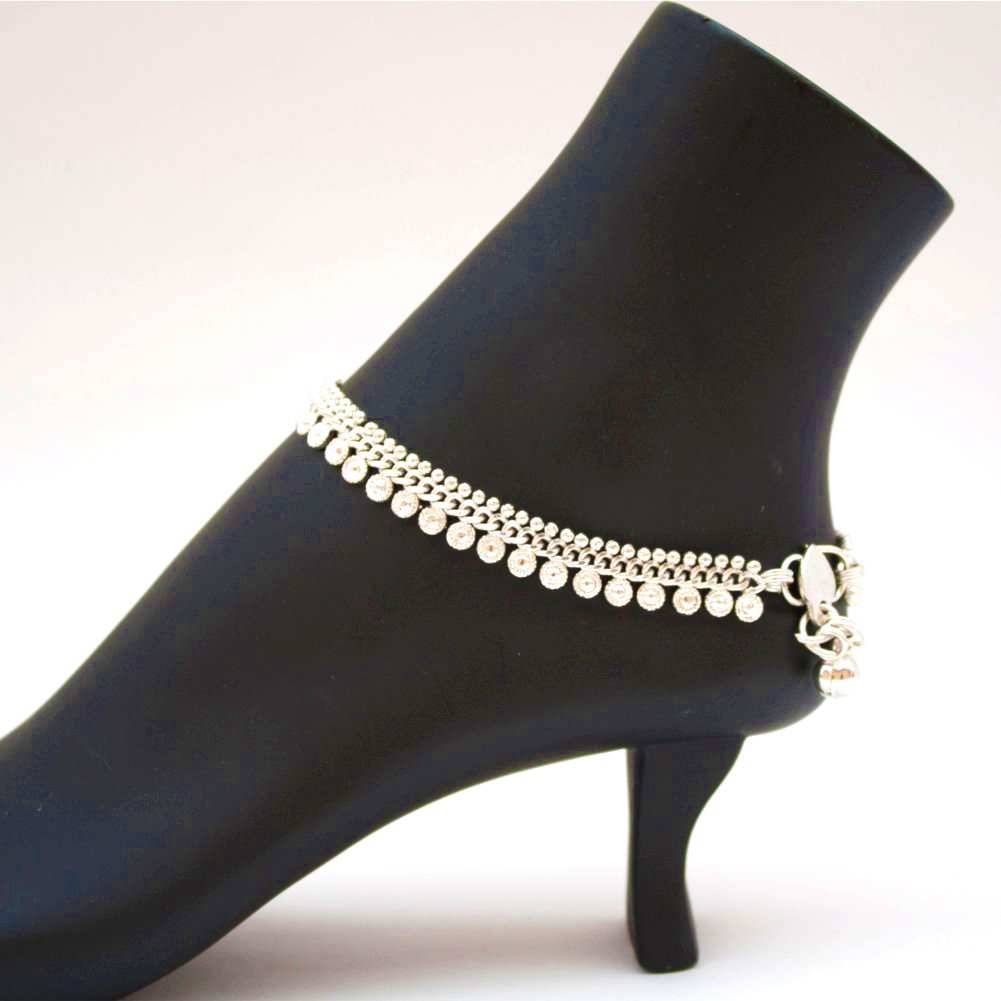Indian Pakistani Ethnic Silver Tone Payal Anklet Pair Curved Edge and Soft Bells Dance Jewelry B01BMUZ0QK_US
