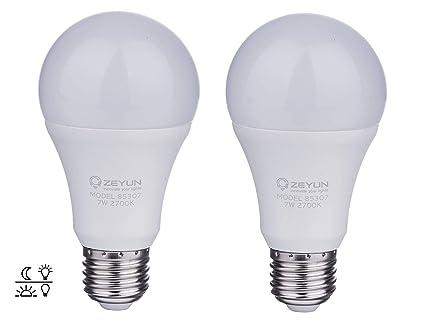 ZEYUN el atardecer hasta el amanecer Bombilla LED, E27 blanca cálida de 12W con sensor