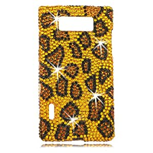 Talon Full Diamond Bling Cell Phone Case Cover Shell for LG US730 Splendor / Venice (Leopard -Yellow) - US Cellular,Boost Mobile