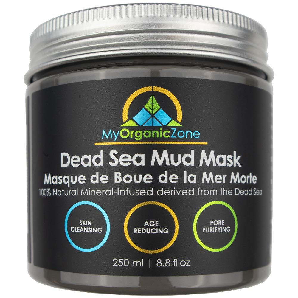 Dead Sea Mud Mask for Face and Body Deep Pore Cleansing, Acne Treatment, Anti Aging and Anti Wrinkle, Organic Natural Facial Mask for Smoother and Softer Skin (250g./8.8oz.) - Licensed by Health Canada My Organic Zone MOZ-DSM-01