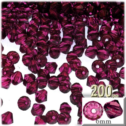 The Crafts Outlet, 200-pc Acrylic Bicone Beads, Faceted, 6mm, Fuchsia