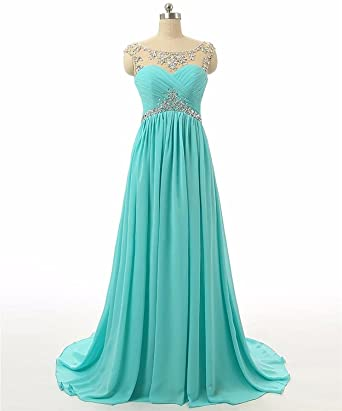 Holygift A-line Beaded Rhinestones Ruffle Chiffon Prom Dresses Pageant Bridesmaid Gowns
