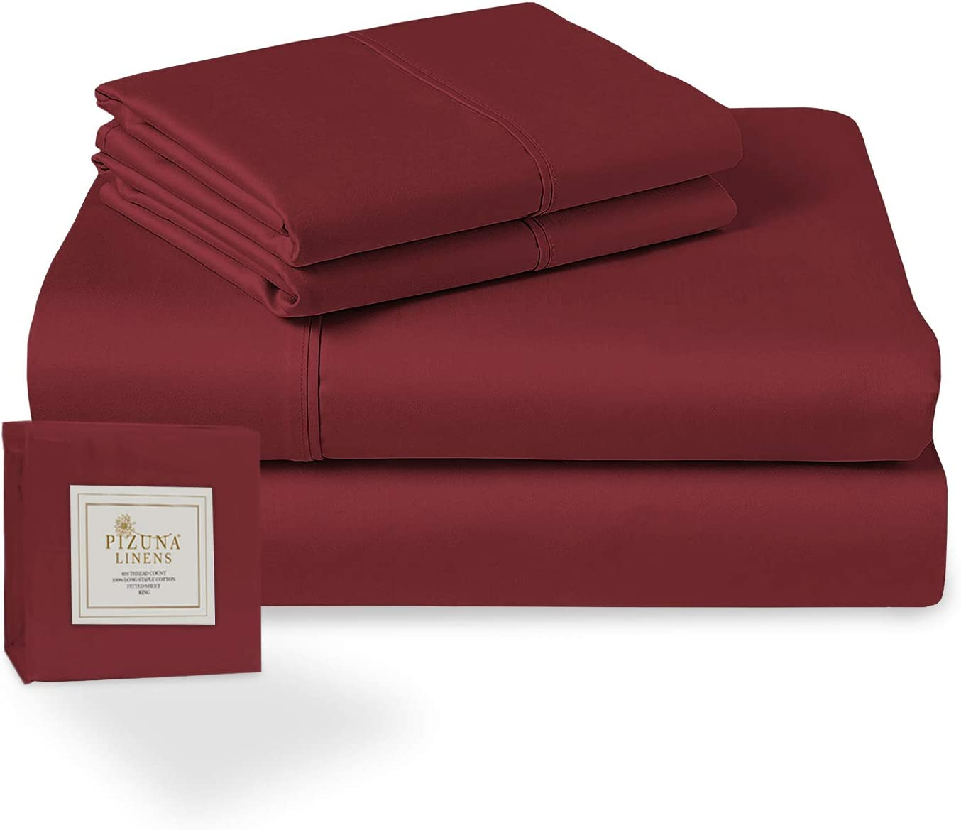 Pizuna 400 Thread Count Cotton Queen Sheets Set Rio Red, 100% Long Staple Cotton Soft Sateen Bed Sheets fits Upto 15 inch Deep Pocket (Rio Red 100% Cotton Queen-Size Sheet)