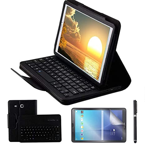 REAL-EAGLE Galaxy Tab E 9.6 Teclado Funda(QWERTY), Funda de Cuero