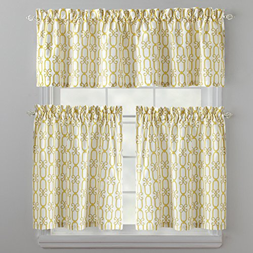 Links Tier and Valance Set 3 Piece Kitchen Curtains (Yellow) (Kitchen Valance Yellow compare prices)