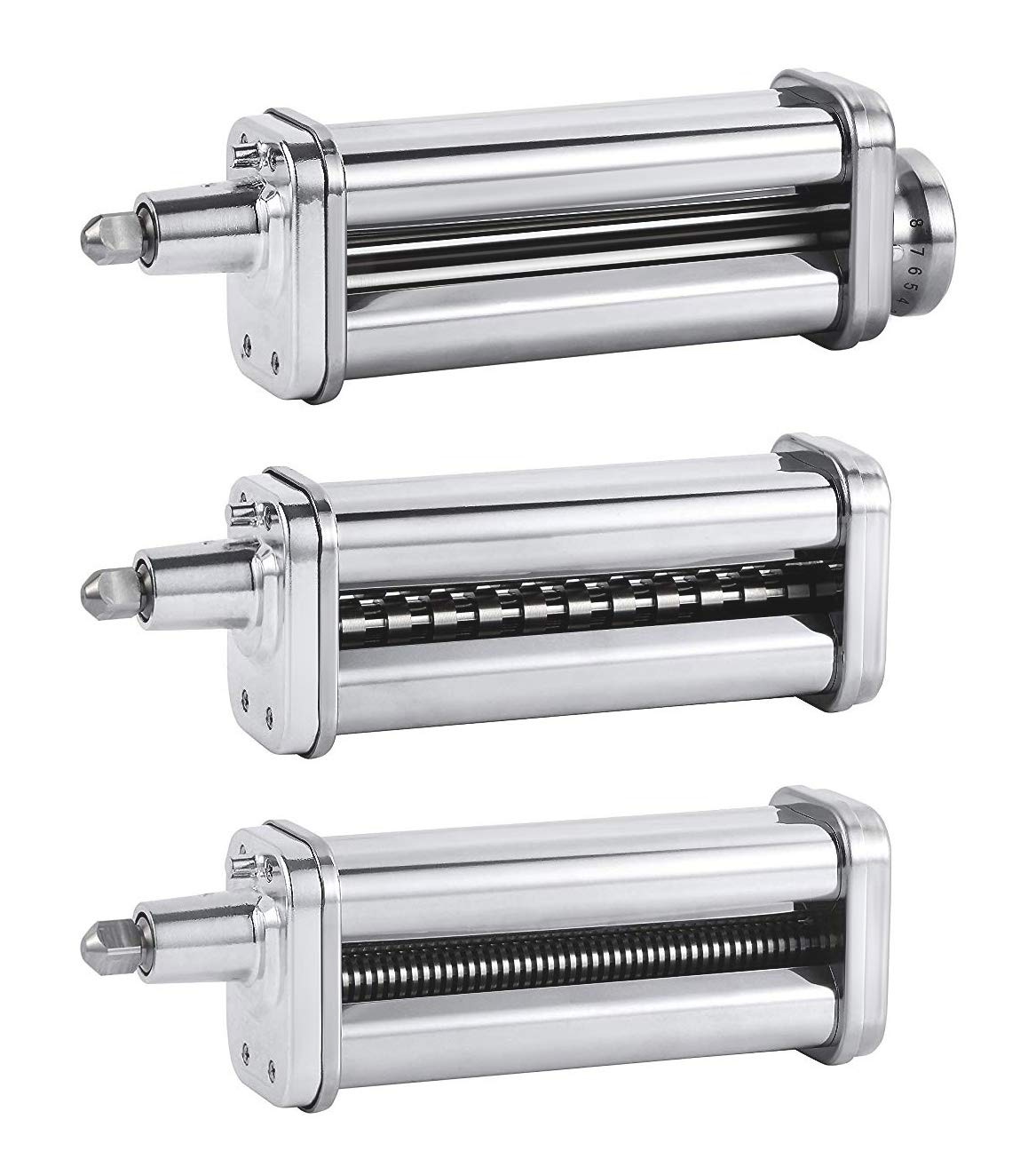 Pasta Roller & Cutters Attachments Set for KitchenAid Stand Mixers, included Pasta Sheet Roller,Spaghetti & Fettuccine Cutter Maker Accessories