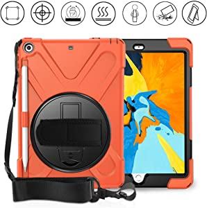 Gzerma Protective Case for New iPad 9.7 2018/2017 with Pencil Holder, Hand Strap, Shoulder Strap and Kickstand, for Apple iPad 9.7 inch A1893 / A1954 Case, Orange