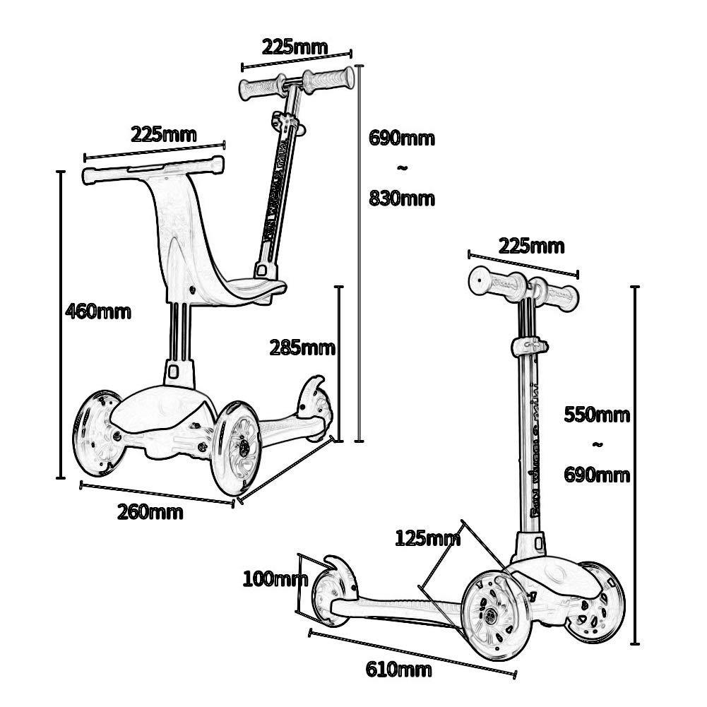 en linea PLLP Patineta-Scooter plegable para niños Patada Patada Patada 3 en 1 con asiento desmontable, ajustable para niños de 12 meses a 8 años, rueda de pu iluminada y freno trasero, Cochega de 50 kg  Garantía 100% de ajuste