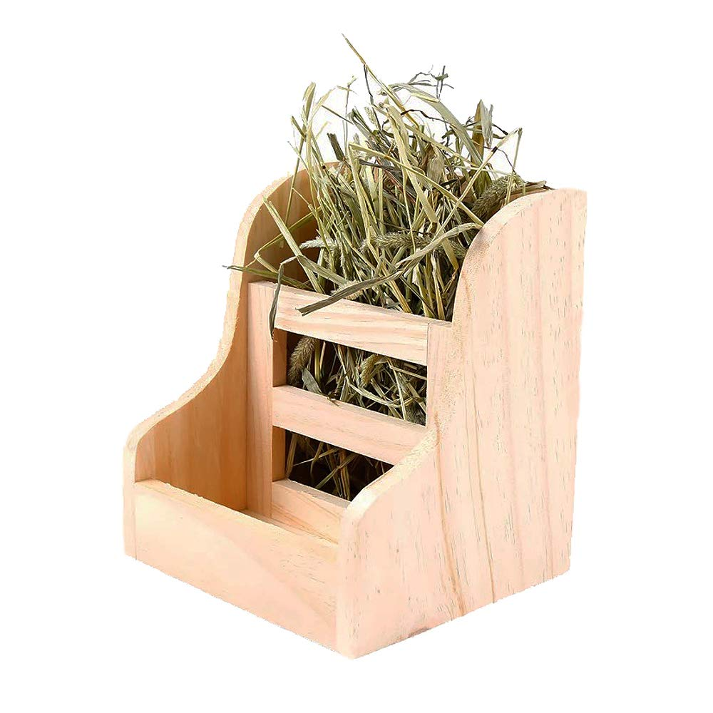 kathson Rabbit Hay Feeder Wood Food Manger Hay Dispenser Wooden Rack for Bunny Guinea Pig Chinchilla by kathson