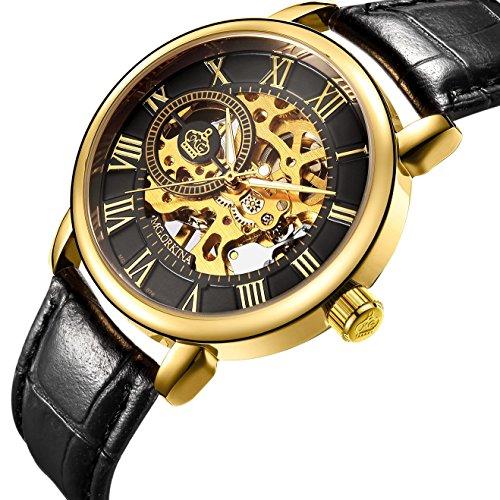 Sweetbless Wristwatch Men's Royal Classic Roman Index Hand-wind Mechanical Watch (gold-black)