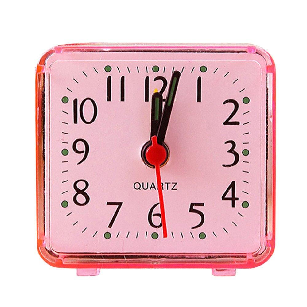 Quaanti 2018 New Cute Clock Bedroom Desk Square Small Bed Compact Travel Quartz Beep Alarm Clock Cute Portable Fashion Clock (Red)