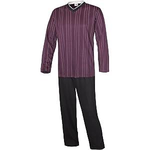 Herren Schlafanzug lang aus 100/% Baumwolle mit V-Ausschnitt und Streifen-Design Moonline