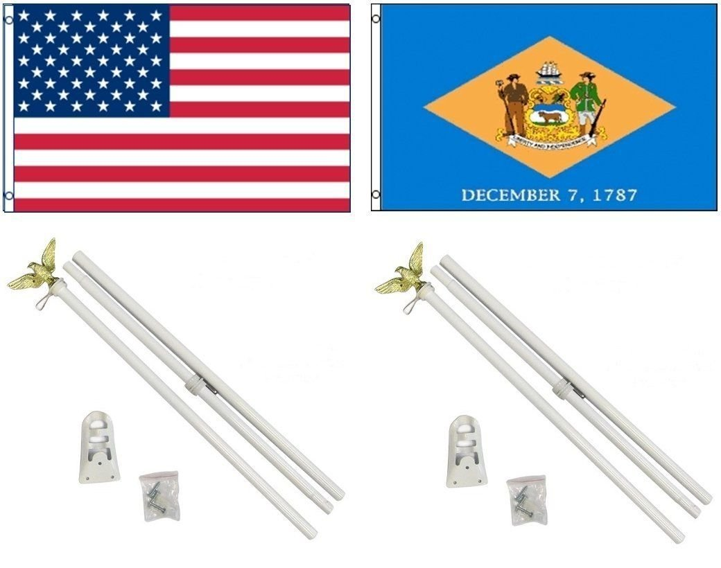 3 x 5 3 ' x5 ' USA American W /デラウェア州の旗W / 2つ6 'ホワイト旗竿ポールキットEagleトッパー B01NBRAJ6B