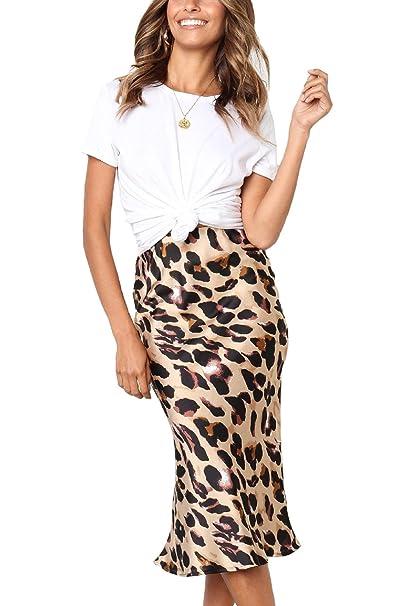 ecc818d98 Assivia Women's Leopard Print Elastic Waist Stretch Bodycon Midi Pencil  Skirt at Amazon Women's Clothing store: