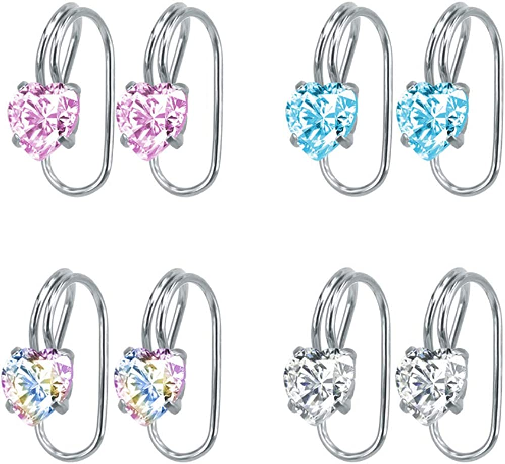ZS 4 Pairs Cuff Ring 7mm CZ...