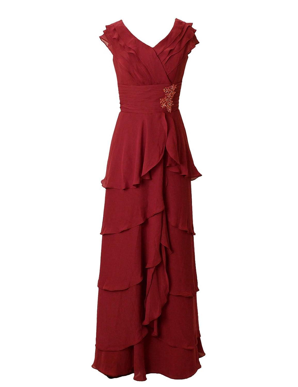Dressystar Damen Chiffon V-neck Abendkleid Partykleid Maxi-Stil ...