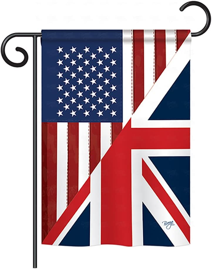 "Breeze Decor - US UK Friendship Flags of The World - Everyday Impressions Decorative Vertical Garden Flag 13"" x 18.5"" Printed in USA"