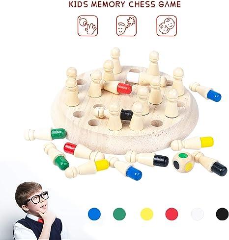 Juego de ajedrez con memoria de madera, juego de ajedrez, juego de ajedrez, cognitivo de color educativo para niños, divertidos juegos de mesa familiares para adultos y niños, Chess: Amazon.es: Deportes y
